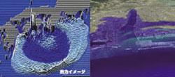 出力イメージ/河口付近の浸水範囲推定結果