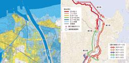 冠水深さに応じた通行規制計画図と津波ハザードマップ