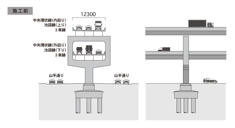 施工前|6車線(上下線各3車線)